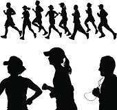 This is a set of silhouettes showing men and women jogging together. This download contains an editable EPS file, as well as a large JPG file.