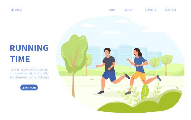 ilustrações de stock, clip art, desenhos animados e ícones de jogging or running time health and fitness concept - young woman running city