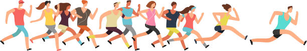 jogging people. runners group in motion. running men and women sports background - running stock illustrations
