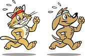 Great illustration of a dog and a cat jogging. Great for a pet lover. EPS and JPEG files included. Be sure to view my other illustrations, thanks!