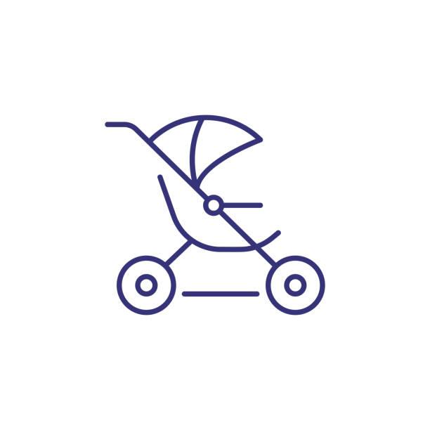 Jogging stroller line icon vector art illustration
