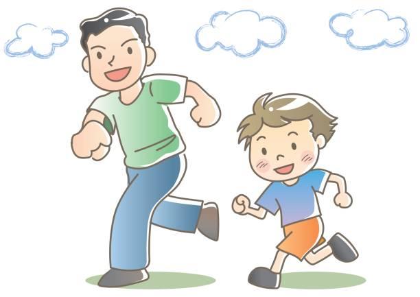 illustrazioni stock, clip art, cartoni animati e icone di tendenza di jogging with father and child - two students together asian