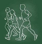 Friends jogging together at lunch time.  vector illustration sketch