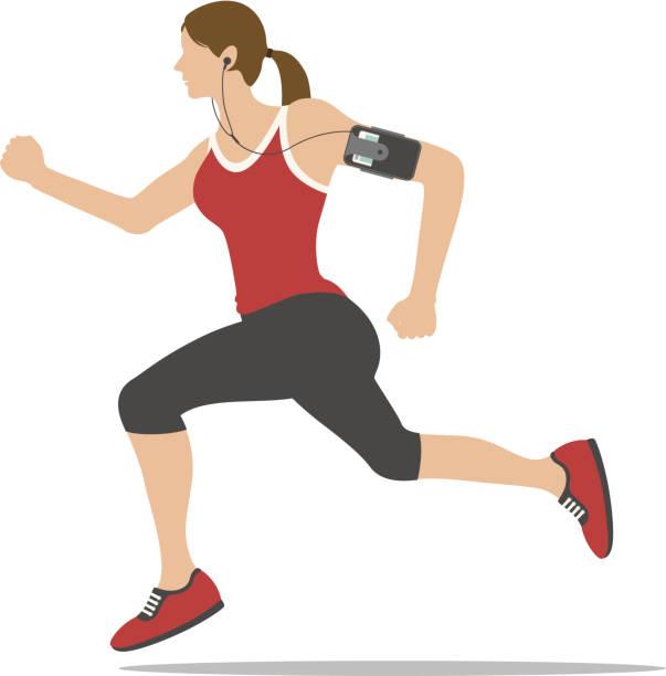 Jogging woman vector art illustration