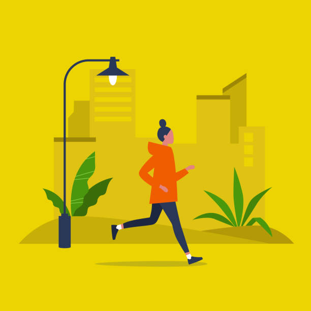 Jogging. Young female character running in a park. Sport. Lifestyle. Active Millennials. Flat editable vector illustration, clip art Jogging. Young female character running in a park. Sport. Lifestyle. Active Millennials. Flat editable vector illustration, clip art active lifestyle stock illustrations