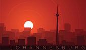 Johannesburg Low Sun Skyline Scene