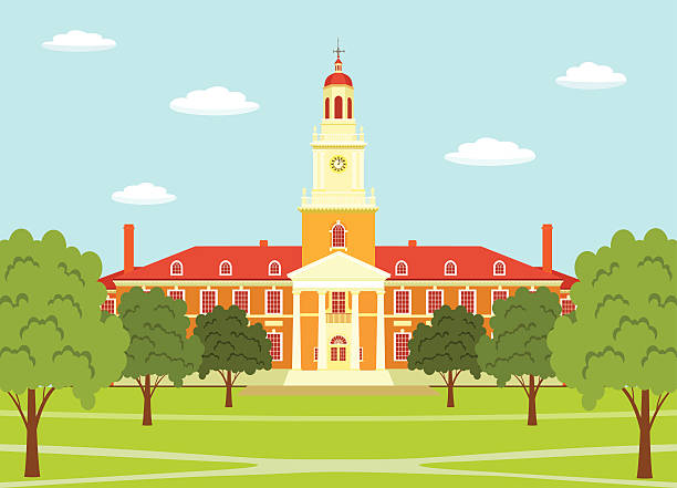 Johns Hopkins University Johns Hopkins University - illustration. campus stock illustrations