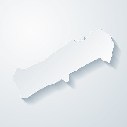 Johnston Atoll map with paper cut effect on blank background