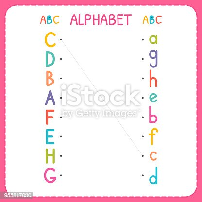 join each capital letter with the lowercase letter from a to h worksheet for kindergarten and. Black Bedroom Furniture Sets. Home Design Ideas
