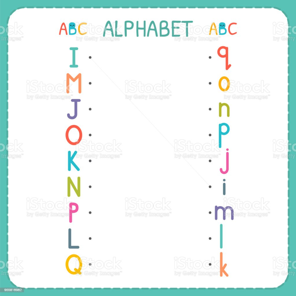 join each capital letter with the lowercase letter from i to q worksheet for kindergarten and. Black Bedroom Furniture Sets. Home Design Ideas