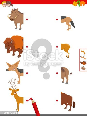 Cartoon Illustration of Educational Game of Matching Halves of Animals
