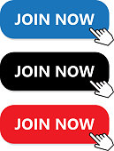 Join now button collection with a hand pointer.