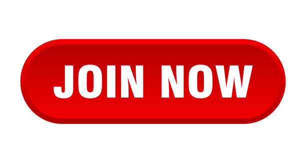 join now button. join now rounded red sign. join now vector art illustration