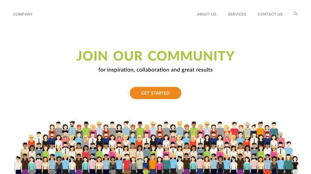 Join our community. Crowd of united people as a business or creative community standing together Join our community. Flat concept vector website template and landing page design for invitation to summit or conference. Crowd of united people as a business or creative community standing together crowd of people stock illustrations
