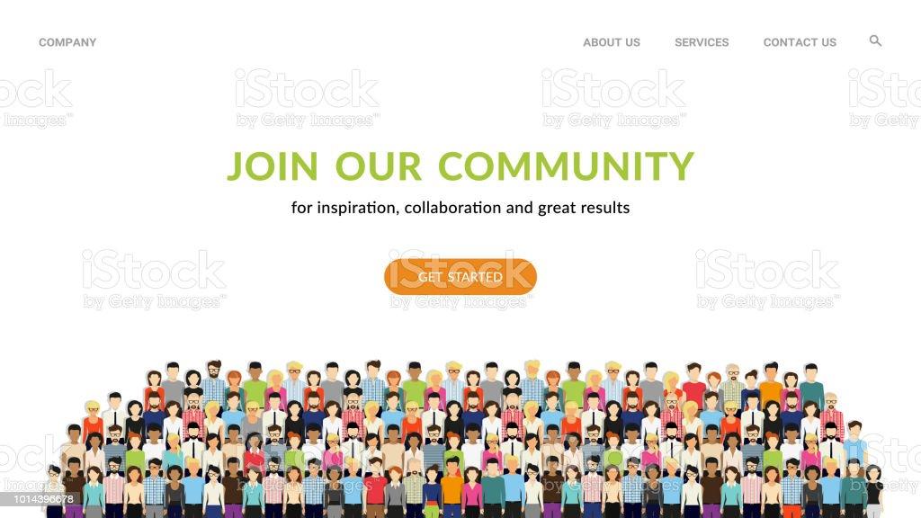 私たちのコミュニティに参加します。ビジネスや一緒に立って創造的なコミュニティとして米国人の観衆 ベクターアートイラスト