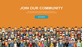 Join our community. Crowd of united people as a business or creative community standing together. Flat concept vector website template and landing page design for invitation to summit or conference