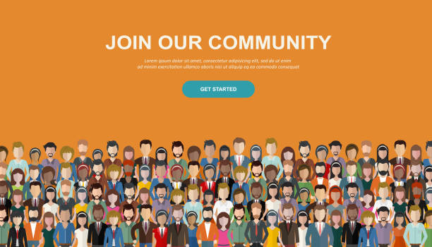 join our community. crowd of united people as a business or creative community standing together. flat concept vector website template and landing page design for invitation to summit or conference - zawód stock illustrations