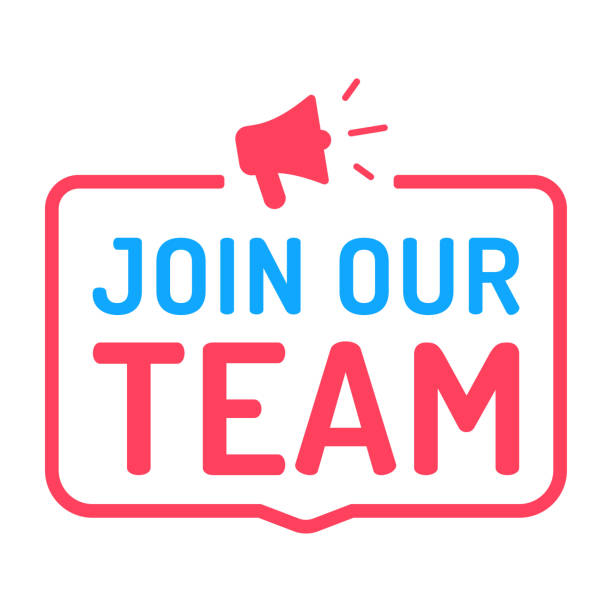 join our team. badge with megaphone icon. flat vector illustration on white background. - team stock illustrations, clip art, cartoons, & icons