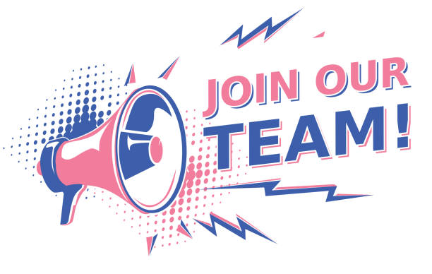 Join our team - sign with megaphone decorative vector artwork help wanted sign stock illustrations