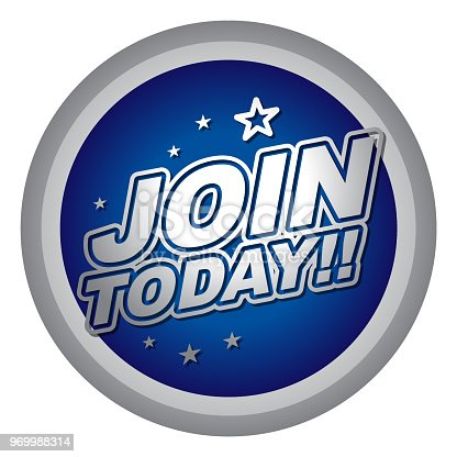 Vector of join today label with blue color background.
