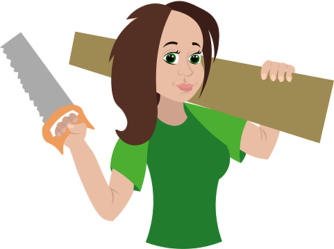 Joiner. Woman carpenter. Woodwork. Feminism. Girl in a green T-shirt with a saw and a blackboard.
