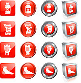 Joint and Bone Aches Medicine &Surgery vector button set