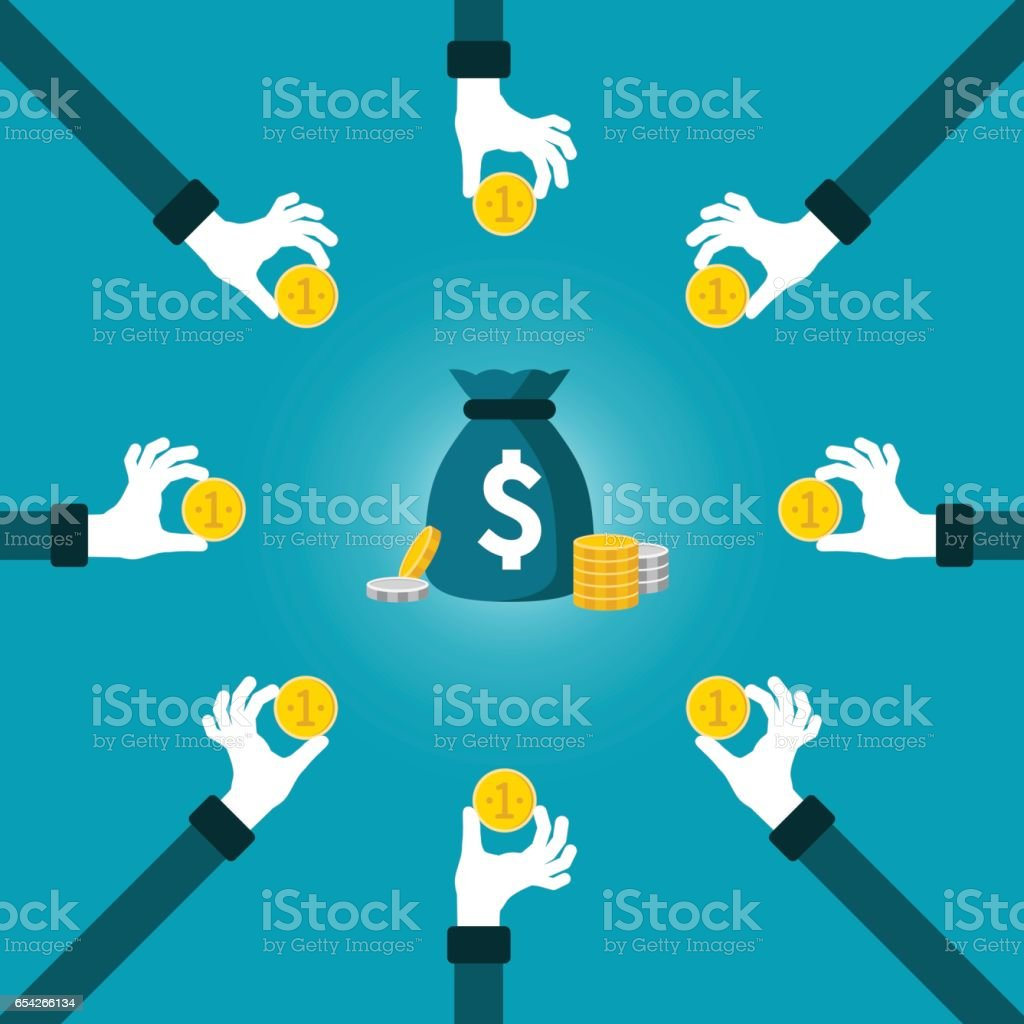 Joint Investment Fund Vector Concept In Flat Style Stock ...