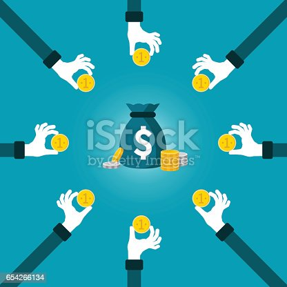 istock Joint investment fund vector concept in flat style 654266134