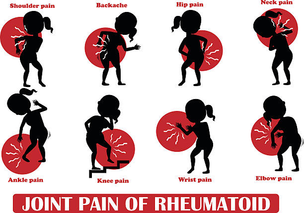 Joint pain of Rheumatoid Joint pain of Rheumatoid and Symptoms vector illustration series sciatica stock illustrations