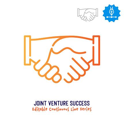 Joint Venture Success Continuous Line Editable Stroke Icon