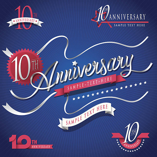 joint writing ribbon typo 10th anniversary - anniversary clipart stock illustrations