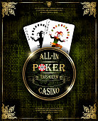 Joker cards. Poker and casino label. Vector background. Texas holdem.
