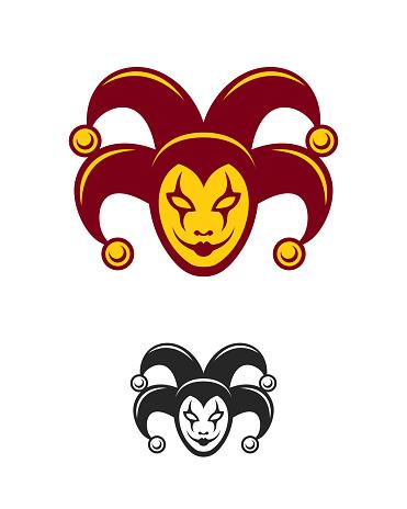 Joker character in clown cap with bells