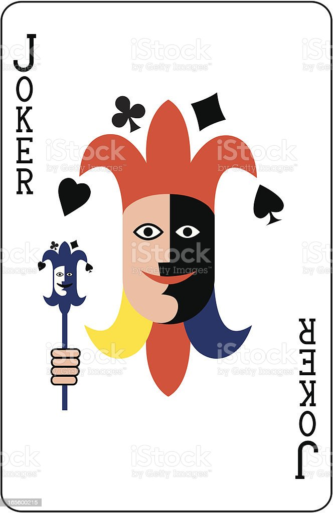 Joker Face Two Playing Card royalty-free stock vector art