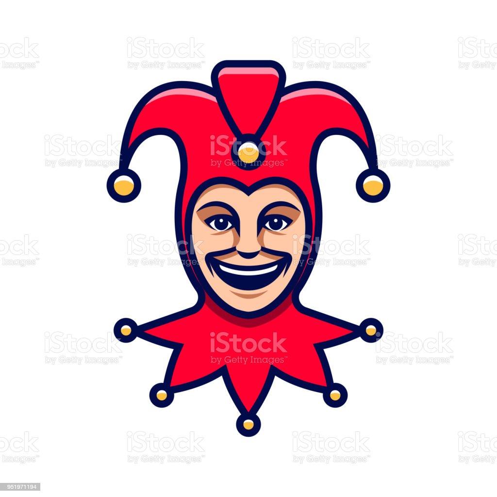 Tête de Joker. Icône de bouffon. Logo de bouffon - Illustration vectorielle