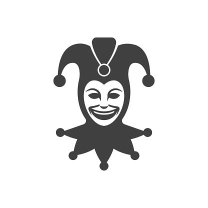 Joker head. Jester icon. Buffoon symbol