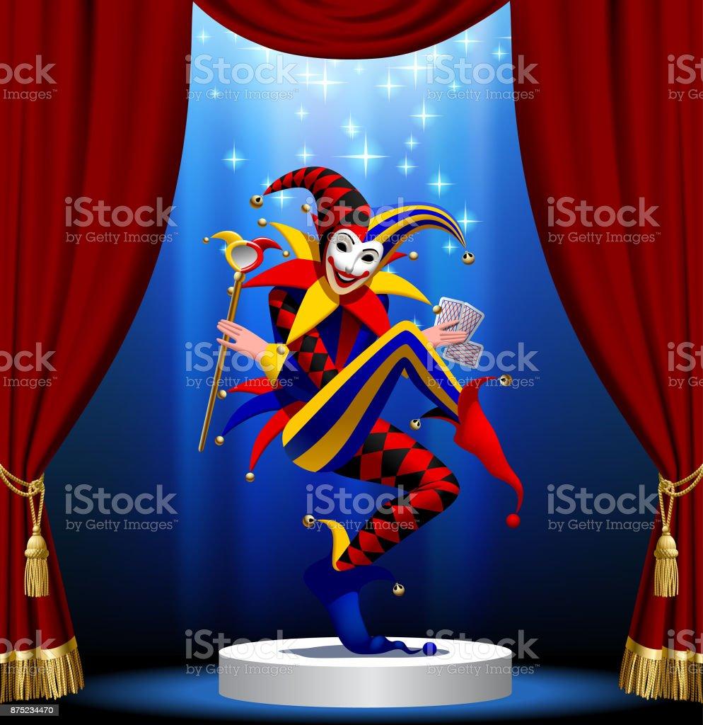Joker avec les cartes à jouer et miroir en lumière bleue sur le podium rond encadré par Rideau rouge - Illustration vectorielle