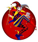 Joker with playing cards and mirror in dark red round frame