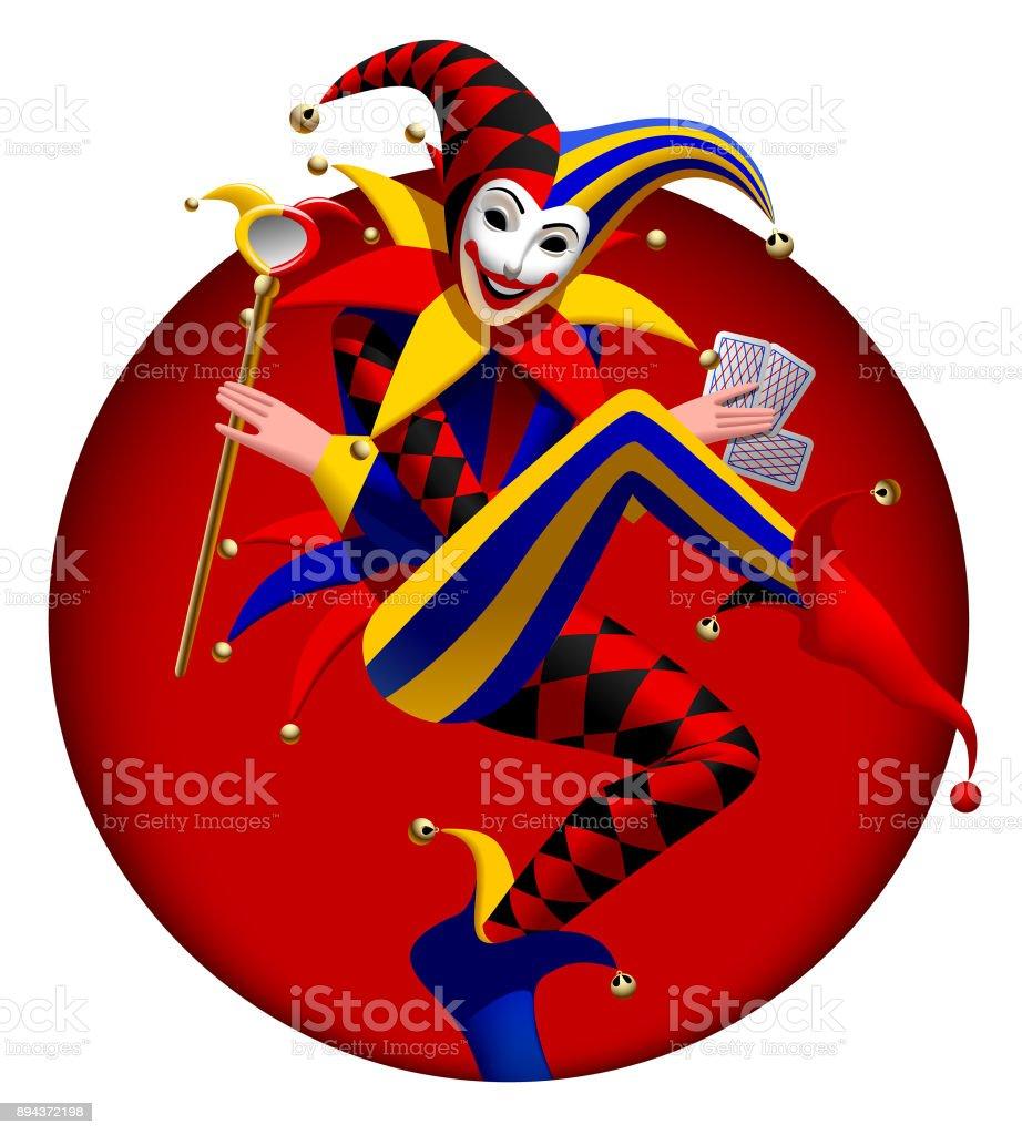 Joker avec les cartes à jouer et miroir en rouge foncé ronde armature - Illustration vectorielle