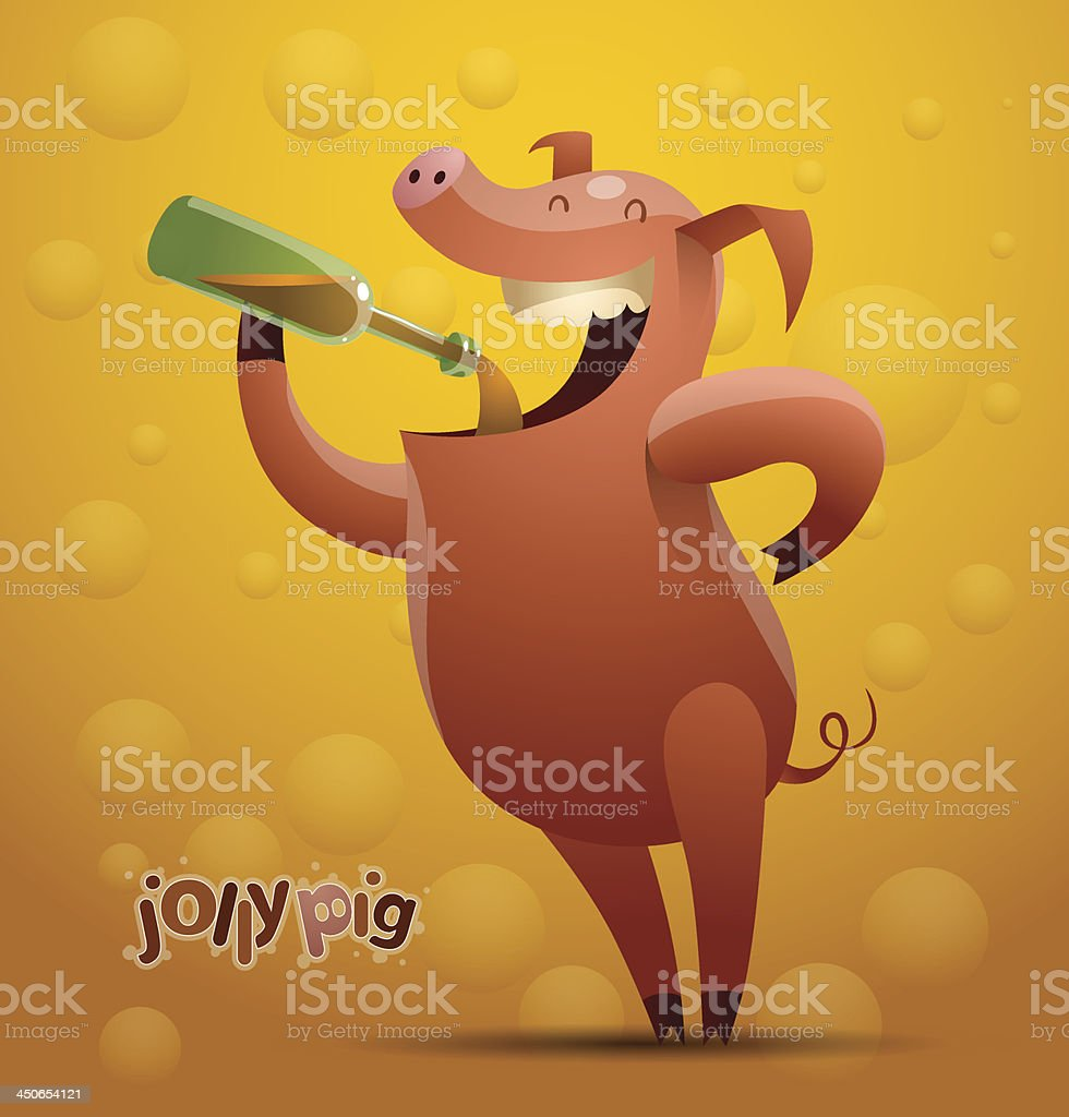 Jolly beer-drinking pig royalty-free jolly beerdrinking pig stock vector art & more images of alcohol