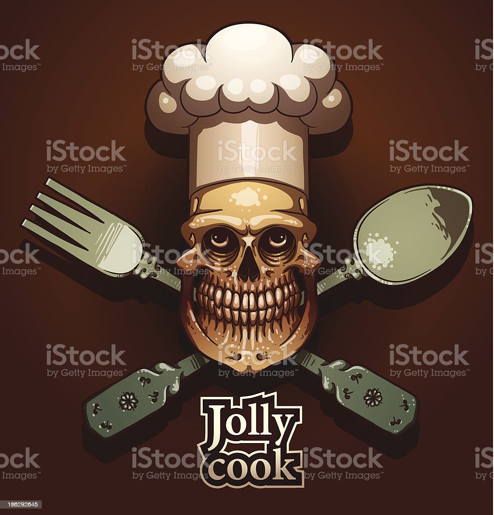 Jolly cook color emblem, spoon and fork royalty-free stock vector art