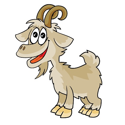 jolly goat character, cartoon illustration, isolated object on white background, vector,
