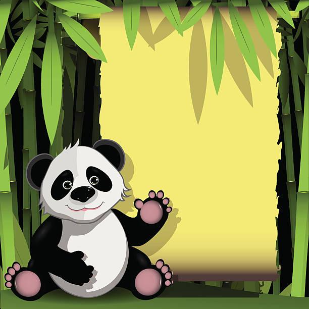 jolly panda w las bambusowy - back to school stock illustrations