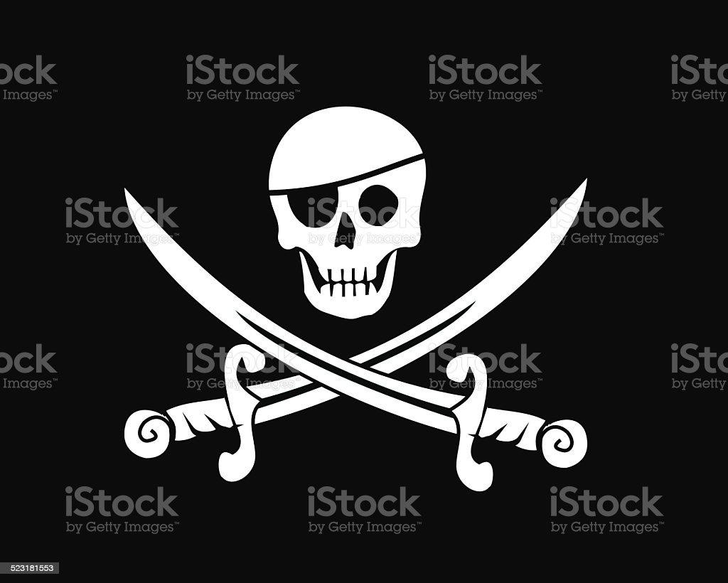 Jolly roger pirate flag vector vector art illustration