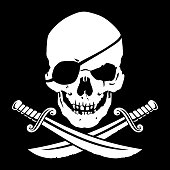 Jolly Roger, skull with crossed daggers
