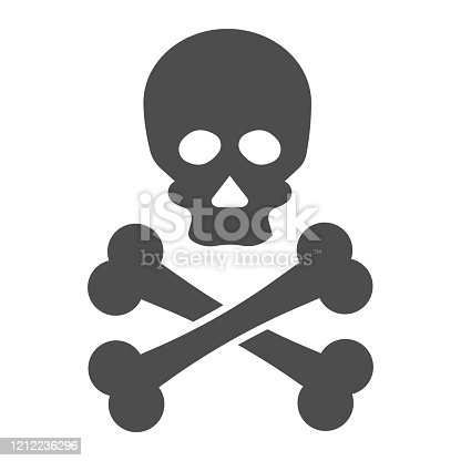 Jolly roger solid icon. Death warning, skull and crossbones symbol, glyph style pictogram on white background. Warfare or danger sign for mobile concept and web design. Vector graphics