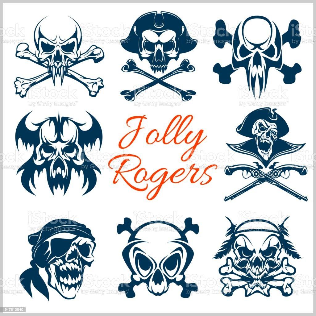 Ilustración De Símbolos De Jolly Roger Vector En Fondo Blanco