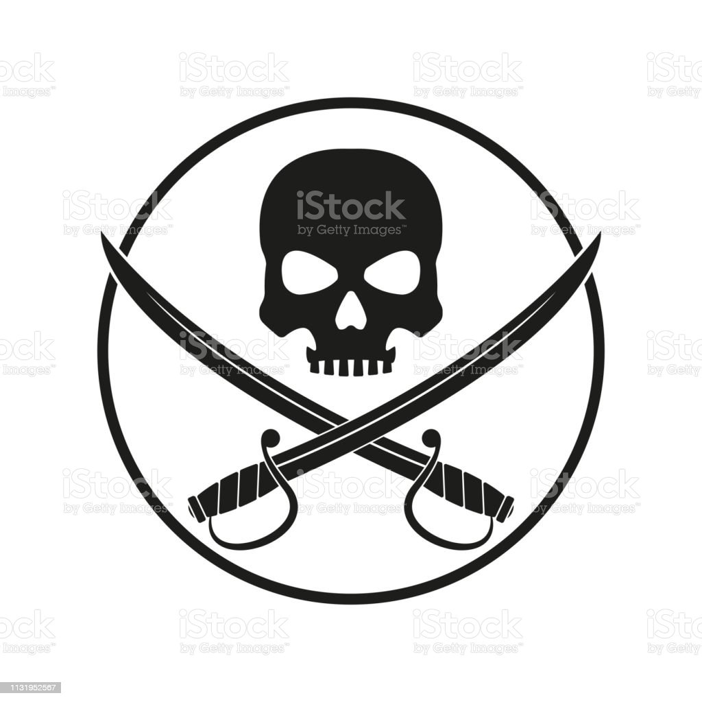 Jolly Roger With Crossed Swords Pirate Flag Emblem With A