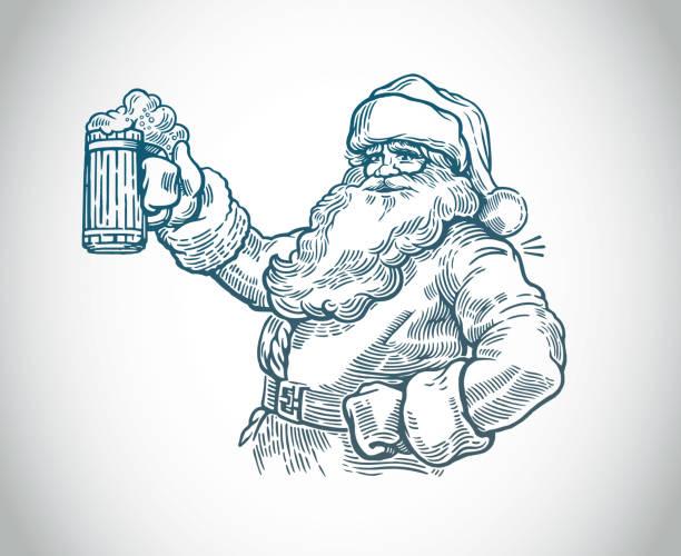 Jolly Santa vector art illustration