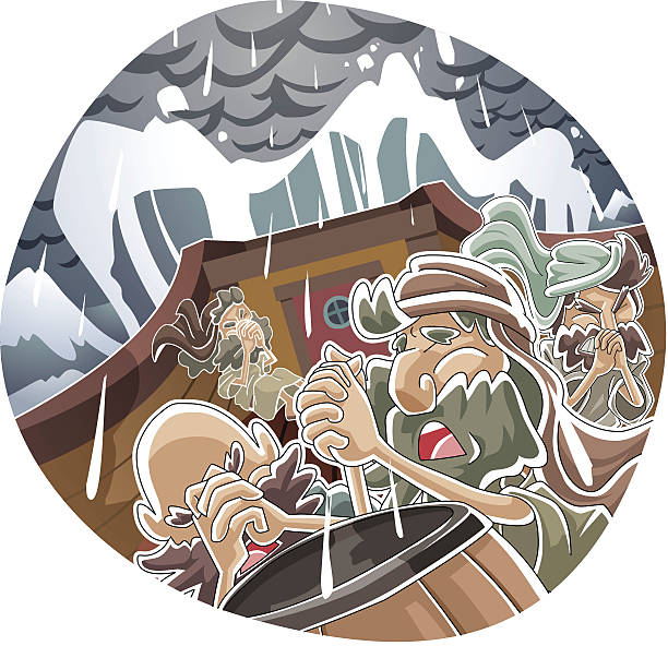 Jonah and the Big Fish Series vector art illustration